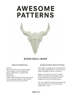 Cardboard Paper, A4 Paper, Skull Mask, Thick And Thin, Wild Ones, Bison, Letter Size, Decoration, Adhesive