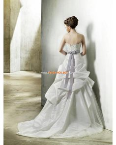 Strapless A-line Beaded Satin Tulle Modern Wedding Dresses 2013 Online