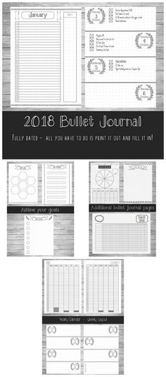 2018 Bullet Journal Printable ~ contains a 127 page PDF. They are hand-drawn style journal pages, which provides a really good base for your bullet journal. The 127 pages include: - A front cover - A Double Page 2018 Calendar - 12 Monthly Planners - 52 Dated Weekly planners - Goal Wall Page - Goal Details Page - Goal Progress Page - Savings Page - Monthly Habit Tracker - Be Thankful Page - Blank dotted grid page #bulletjournaling #ad #printable #bujodownload