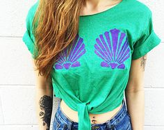 Mint Mermaid Crop Top Clamshell The Little by TheBohipstian