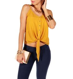 Pre-Order: Mustard Front Tie Sleeveless Top