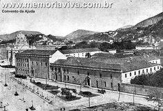 Convento da Ajuda, foi inaugurado no dia 30 de março de 1750. Ficava na Rua da Ajuda, uma das mais importantes do Rio antigo, onde hoje é a Cinelândia. No dia 19 de outubro de 1911, as religiosas deixaram o convento, a construção foi demolida para dar lugar à instalação de um luxuoso hotel que nunca existiu. Mais tarde, vários prédios foram construídos no local, como o Cinema Odeon, inaugurado no dia 1o de junho de 1928, que deu inicio a Cinelândia. A foto de maio de 1907.