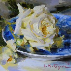 "Daily+Paintworks+-+""Yellow+Rose+on+Blue""+-+Original+Fine+Art+for+Sale+-+©+Elena+Katsyura"