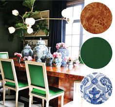 burl wood with green and blue china chinoiserie | via coco+kelley