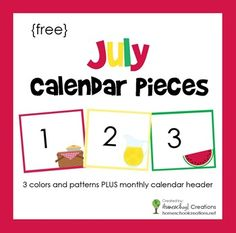 Free pocket chart calendar pieces for the month of July. Includes a monthly calendar header and three different patterns for additional learning.