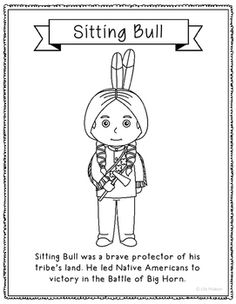 sitting bull coloring page craft or poster with biography native american