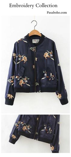 6968e5362b66 Blue Embroidered Foral Bomber Jacket is Now Available @PASABOHO *this  Fashion Jacket exhibits unique