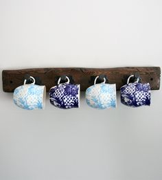 Rustic Wood Rack by EverettCo on Scoutmob Shoppe. Hand-distressed wood with industrial style coat hooks. Rustic Wood, Rustic Decor, Distressed Wood, Rustic Mugs, Barn Wood, Wood Mug, Wood Rack, Decoration Originale, Wooden Diy