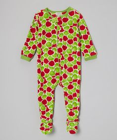 Take a look at this Red & Green Apples Fleece Footie - Infant, Toddler & Kids by Leveret on #zulily today!
