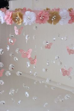 Crystal Baby Mobile, Pink Baby Mobile, Flower Baby Mobile, Pink flower mobile, Baby Mobile Crystal Baby Mobile Pink Baby Mobile Flower Baby by TheMobileMaven Girl Nursery, Girl Room, Baby Room, Chic Nursery, Nursery Bedding, Nursery Decor, Girls Bedroom, Bedroom Ideas, Pink Flowers