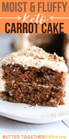 This homemade classic low carb carrot cake is unbelievably moist and fluffy! It also has an ultra-creamy cream cheese frosting! It& the perfect healthy dessert that everyone will! This will be your new favorite keto dessert recipe! Low Card Desserts, Sugar Free Desserts, Keto Desserts, Easy Healthy Desserts, Healthy Cake, Healthy Foods, Easy Cake Recipes, Low Carb Recipes, Dessert Recipes