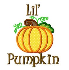 Lil pumpkin applique machine embroidery design