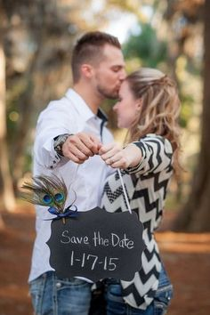 Chalkboard Save The Date Photo Idea. See more here: 27 Cute Save the Date Photo Ideas | Confetti Daydreams ♥  ♥  ♥ LIKE US ON FB: www.facebook.com/confettidaydreams  ♥  ♥  ♥ #Wedding #SaveTheDate #PhotoIdeas