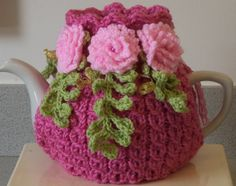 pink shabby chic large 6 cup tea cosy hand by peerietreisures