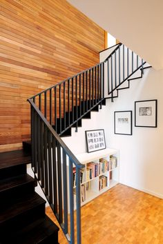 Best Decoration Wooden Stair Completed Black Steel Fences