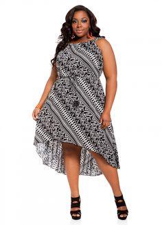Ashley Stewart: Abstract Print Hi-lo Plus Size Dress
