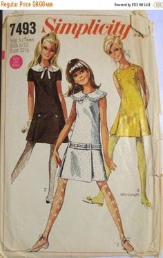 50% OFF SALE Vintage Sewing Pattern 1960s Simplicity 7493 Juniors Dress Pattern Size 9/10 Bust 30 1/2