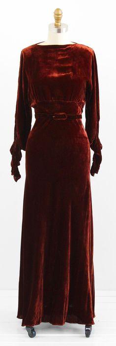 vintage 1930s cinnamon brown silk velvet evening gown | art deco, bias cut, cut outs | www.rococovintage.com