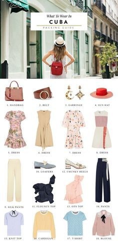 What to Wear in Cuba: Packing List Suggested Outfits - Travel Miami - Ideas of Travel Miami - A packing list for what to wear in Havana Cuba! If you wish to donate I've also included ideas for what to bring to Cuba that locals frequently request. Cuba Outfit, Outfits For Cuba, Packing Tips For Travel, Travel Guide, Packing Lists, Packing Outfits, Travel Advice, Travel Hacks, Packing Ideas