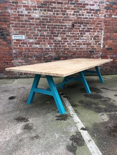 Modern Industrial Chic Solid OAK A Frame Dining Table in Orange  This beautiful item has been finished in a Teal to bring you a truly new look and design. Dont forget you can have the bases in any RAL colour.  Solid OAK Butcher block finished in a natural light wax This item can be made in any size.  Please email us your specification for a quote if you require a different size. Size- 300x96x75H cm Our experienced craftsman from the steel City of Sheffield make each individual piece by hand…