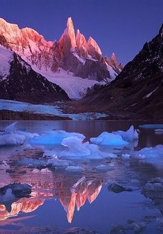 Crimson Crags, Cerro Torre, Patagonia, on the border between Chile and Argentina.