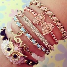 Stackable Bangle Bracelets for woman Just Trendy Girls Stackable Bracelets, Cute Bracelets, Bangle Bracelets, Layered Bracelets, Pandora Bracelets, Owl Bracelet, Necklaces, Cute Jewelry, Jewelry Accessories