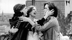 "Rhoda (Valerie Harper) and Phyllis (Cloris Leachman) visit Mary (Mary Tyler Moore) at her office in the last episode of ""The Mary Tyler Moore Show,"" as seen in this flashback photo. (photo: CBS Television)"