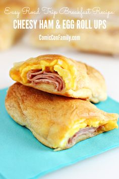 Easy Road Trip Breakfast Idea: Cheesy Ham and Egg Roll Ups