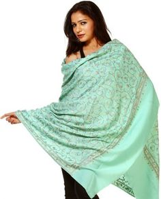 Exotic India Ocean-Wave Kashmiri Shawl with All-Over Ari-Embroidery by Hand Exotic India. $225.00