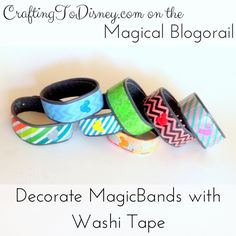 Crafting To Disney: Decorate MagicBands With Washi Tape Disney Diy, Disney Crafts, Walt Disney World Vacations, Disney Trips, Diy Craft Projects, Fun Crafts, Craft Ideas, Disney Magic Bands, Washi Tape