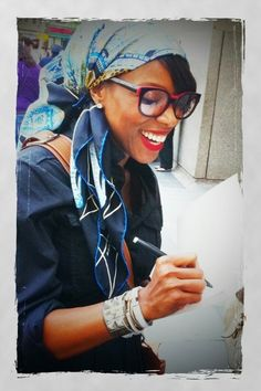 Love the styling of Ms. Ambrose's headscarf. -TMC~~ june ambrose and her head scarf-amaaaaazing