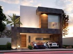 The modern home exterior design is the most popular among new house owners and those who intend to become the owner of a modern house. Residential Architecture, Contemporary Architecture, Architecture Design, Modern House Facades, Modern House Design, Facade Design, Exterior Design, Appartement Design, Facade House