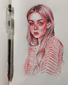 Love the use of colour on this red and black ink drawing, beautiful mark making. - Love the use of colour on this red and black ink drawing, beautiful mark making. Inspiration Art, Sketchbook Inspiration, Art Inspo, Portrait Au Crayon, Portrait Art, Ink Drawings, Drawing Sketches, Drawing Art, Drawing Tips