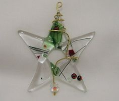 Fused Glass Christmas Star Tree Ornament or Suncatcher by BigSky
