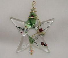 Fused Glass Christmas Star Tree Ornament or Suncatcher by BigSky