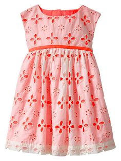 Baby Gap Contrast Eyelet Dress in Sassy Pink - I have a stash of eyelet fabric just right to make this a sewing project!