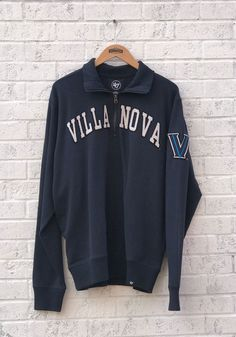 5bc06eeed '47 Villanova Wildcats Mens Navy Blue Arch Long Sleeve 1/4 Zip Fashion  Pullover