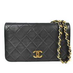 Chanel Vintage Quilted Leather Black Shoulder Bag Gold Chain Classic