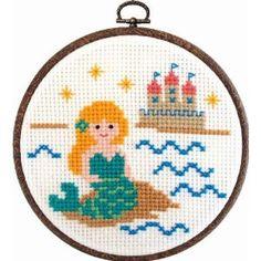 mermaid & castle cross stich