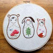 Embroidery PDF Woodland Nesting Dolls - via @Craftsy