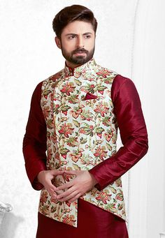 Digital Printed Art Silk Nehru Jacket in White and Multicolor Indian Wedding Clothes For Men, Wedding Kurta For Men, Wedding Dress Men, Nehru Jacket For Men, Waistcoat Men, Nehru Jackets, Mens Indian Wear, Indian Men Fashion, Mens Fashion Suits