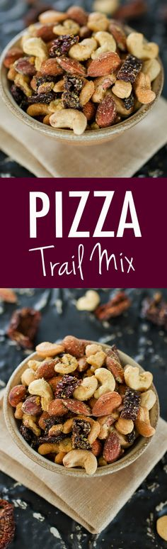 PIZZA TRAIL MIX -- A savory cheesy mix of roasted nuts with sun-dried tomatoes and Italian seasonings. PIZZA TRAIL MIX -- A savory cheesy mix of roasted nuts with sun-dried tomatoes and Italian seasonings. Paleo Recipes, Real Food Recipes, Snack Recipes, Cooking Recipes, Pizza Recipes, Diabetic Snacks, Vegan Snacks, Trail Mix Recipes, Boite A Lunch