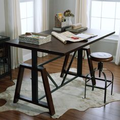 With an amply sized wooden surface, our adjustable-height table is a multifunctional workhorse that's just as suited as a desk in the home office as it is a Counter Height Desk, Bar Height Dining Table, Kitchen Work Tables, Kitchen Office, Wood Office Desk, Office Workspace, Adjustable Height Table, Stand Up Desk, Pub Table Sets