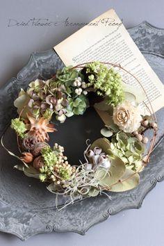 クルミの森のリース - ドライフラワーリース/ウェルカムボード/ ウェルカムリース| Dried Flower Arrangement ''Peony'' ピオニー