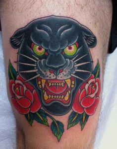 Traditional Panther Tattoo - http://99tattoodesigns.com/traditional-panther-tattoo/