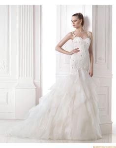 2015 Rückenfreie Moderne Elegante Brautkleider aus Organza mit Applikation