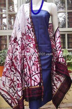 Designer Hand Crafted Chanderi Dupatta with Wax Batik work