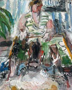GEN PAUL (1895-1975), «La partie de jacquet». Huile sur toile, 81 x 65 cm.