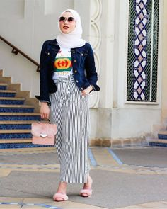 Striped palazzo pants with bow-Cute casual hijab fashion – Just Trendy Girls