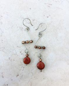 Jasper Wire Earrings >> Natural Stone Jewelry >> Red Jasper >> Beaded Earrings >> Southwestern Jewelry >> Gifts For Her >> Bohemian Earrings by WildJaeJewelry on Etsy https://www.etsy.com/listing/261202909/jasper-wire-earrings-natural-stone